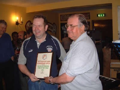 Tony Aburrow presenting certificate to Mark